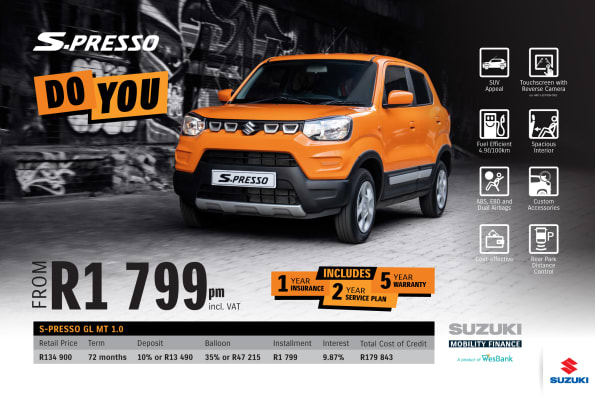 """<p><span style=""""font-family: &quot;Suzuki Pro Regular&quot;, Arial, Verdana, Helvetica, sans-serif;"""">*Terms and Conditions apply. Monthly installment includes the monthly service fees of R69 and total cost of credit includes Bank Initiation Fee of R1208 incl. VAT. Offers apply while stocks last. Interest rates are linked to prime (currently 9.75%) and are accordingly subject to change in the event of a change in the prime. Finance offers subject to approval from Suzuki Mobility Finance, a product of WesBank, a division of FirstRand Bank Ltd, an authorised financial services and registered credit provider, NCRCP20. Retail offer valid until 30 April 2020. Promotional 5-year/200 000km warranty valid until 30 April 2020. Mandatory insurances are excluded. Pictures shown are for illustrative purposes only.</span><br></p>"""