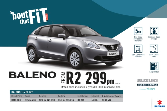 """<p><span style=""""font-family: &quot;Suzuki Pro Regular&quot;, Arial, Verdana, Helvetica, sans-serif;"""">*Terms and Conditions apply. Monthly instalment includes the monthly service fees of R69 and total cost of credit of R238 422 includes Bank Initiation Fee of R1208 incl. VAT. Offers apply while stocks last. Interest rate is linked to prime (currently 7.25% as of June 2020) and is accordingly subject to change in the event of a change in prime. Finance offer subject to approval from Suzuki Mobility Finance, a product of WesBank - a division of FirstRand Bank Ltd. An Authorised Financial Services and Registered Credit Provider. NCRCP20. Retail offer valid until 30 September 2020. Promotional 5-year/200 000km warranty valid until 30 September 2020. Mandatory insurances are excluded. Pictures shown are for illustrative purposes only.</span><br></p>"""
