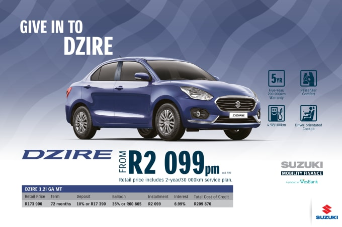 """<p><span style=""""font-family: &quot;Suzuki Pro Regular&quot;, Arial, Verdana, Helvetica, sans-serif;"""">*Terms and Conditions apply. Monthly instalment includes the monthly service fees of R69 and total cost of credit of R209 970 includes Bank Initiation Fee of R1208 incl. VAT. Offers apply while stocks last. Interest rate is linked to prime (currently 7.25% as of June 2020) and is accordingly subject to change in the event of a change in prime. Finance offer subject to approval from Suzuki Mobility Finance, a product of WesBank - a division of FirstRand Bank Ltd. An Authorised Financial Services and Registered Credit Provider. NCRCP20. Retail offer valid until 30 September 2020. Promotional 5-year/200 000km warranty valid until 30 September 2020. Mandatory insurances are excluded. Pictures shown are for illustrative purposes only.</span><br></p>"""