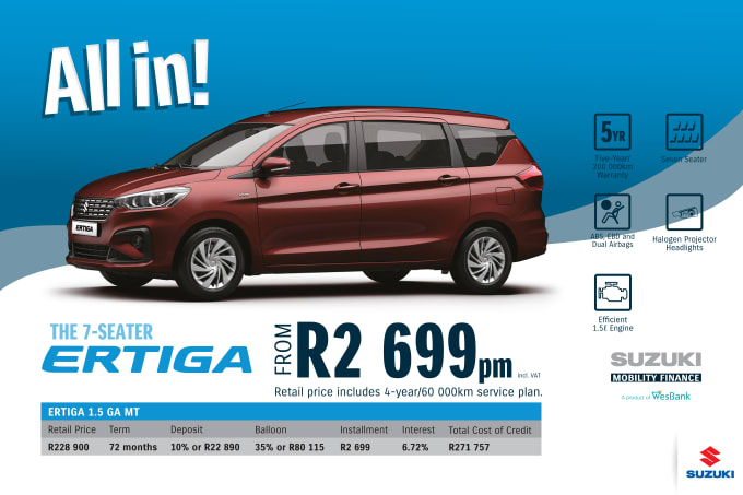 """<p><span style=""""font-family: &quot;Suzuki Pro Regular&quot;, Arial, Verdana, Helvetica, sans-serif;"""">*Terms and Conditions apply. Monthly instalment includes the monthly service fees of R69 and total cost of credit of R271 757 includes Bank Initiation Fee of R1208 incl. VAT. Offers apply while stocks last. Interest rate is linked to prime (currently 7.25% as of June 2020) and is accordingly subject to change in the event of a change in prime. Finance offer subject to approval from Suzuki Mobility Finance, a product of WesBank - a division of FirstRand Bank Ltd. An Authorised Financial Services and Registered Credit Provider. NCRCP20. Retail offer valid until 30 September 2020. Promotional 5-year/200 000km warranty valid until 30 September 2020. Mandatory insurances are excluded. Pictures shown are for illustrative purposes only</span><br></p>"""