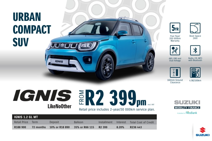 """<p><span style=""""font-family: &quot;Suzuki Pro Regular&quot;, Arial, Verdana, Helvetica, sans-serif;"""">*Terms and Conditions apply. Monthly instalment includes the monthly service fees of R69 and total cost of credit of R236 443 includes Bank Initiation Fee of R1208 incl. VAT. Offers apply while stocks last. Interest rate is linked to prime (currently 7.25% as of June 2020) and is accordingly subject to change in the event of a change in prime. Finance offer subject to approval from Suzuki Mobility Finance, a product of WesBank - a division of FirstRand Bank Ltd. An Authorised Financial Services and Registered Credit Provider. NCRCP20. Retail offer valid until 30 September 2020. Promotional 5-year/200 000km warranty valid until 30 September 2020. Mandatory insurances are excluded. Pictures shown are for illustrative purposes only.</span><br></p>"""