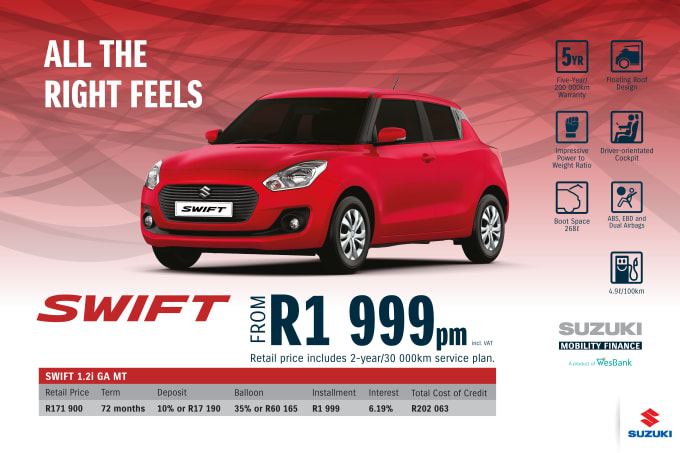 """<p><span style=""""font-family: &quot;Suzuki Pro Regular&quot;, Arial, Verdana, Helvetica, sans-serif;"""">*Terms and Conditions apply. Monthly instalment includes the monthly service fees of R69 and total cost of credit of R202 063 includes Bank Initiation Fee of R1208 incl. VAT. Offers apply while stocks last. Interest rate is linked to prime (currently 7.25% as of June 2020) and is accordingly subject to change in the event of a change in prime. Finance offer subject to approval from Suzuki Mobility Finance, a product of WesBank - a division of FirstRand Bank Ltd. An Authorised Financial Services and Registered Credit Provider. NCRCP20. Retail offer valid until 30 September 2020. Promotional 5-year/200 000km warranty valid until 30 September 2020. Mandatory insurances are excluded. Pictures shown are for illustrative purposes only.</span><br></p>"""