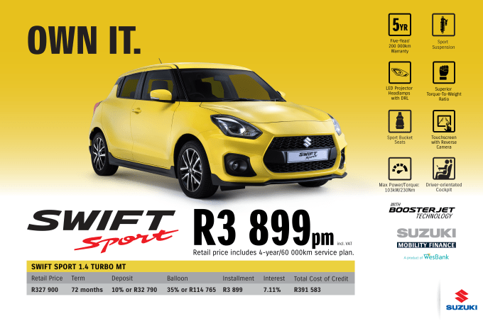 """<p><span style=""""font-family: &quot;Suzuki Pro Regular&quot;, Arial, Verdana, Helvetica, sans-serif;"""">*Terms and Conditions apply. Monthly instalment includes the monthly service fees of R69 and total cost of credit of R391 583 includes Bank Initiation Fee of R1208 incl. VAT. Offers apply while stocks last. Interest rate is linked to prime (currently 7.25% as of June 2020) and is accordingly subject to change in the event of a change in prime. Finance offer subject to approval from Suzuki Mobility Finance, a product of WesBank - a division of FirstRand Bank Ltd. An Authorised Financial Services and Registered Credit Provider. NCRCP20. Retail offer valid until 30 September 2020. Promotional 5-year/200 000km warranty valid until 30 September 2020. Mandatory insurances are excluded. Pictures shown are for illustrative purposes only.</span><br></p>"""