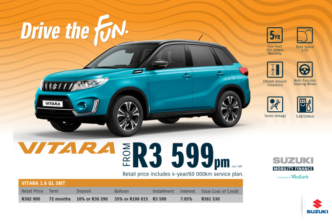 """<p><span style=""""font-family: &quot;Suzuki Pro Regular&quot;, Arial, Verdana, Helvetica, sans-serif;"""">*Terms and Conditions apply. Monthly instalment includes the monthly service fees of R69 and total cost of credit of R361 530 includes Bank Initiation Fee of R1208 incl. VAT. Offers apply while stocks last. Interest rate is linked to prime (currently 7.25% as of June 2020) and is accordingly subject to change in the event of a change in prime. Finance offer subject to approval from Suzuki Mobility Finance, a product of WesBank - a division of FirstRand Bank Ltd. An Authorised Financial Services and Registered Credit Provider. NCRCP20. Retail offer valid until 30 September 2020. Promotional 5-year/200 000km warranty valid until 30 September 2020. Mandatory insurances are excluded. Pictures shown are for illustrative purposes only.</span><br></p>"""