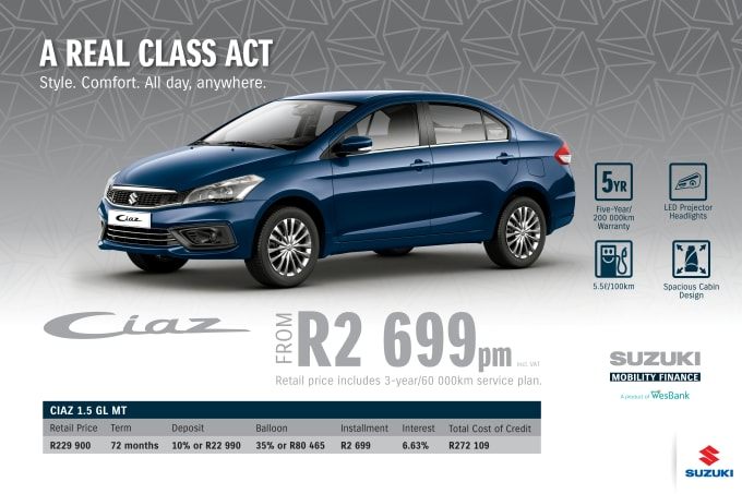 """<span style=""""font-family: &quot;Suzuki Pro Regular&quot;, Arial, Verdana, Helvetica, sans-serif;"""">*Terms and Conditions apply. Monthly instalment includes the monthly service fees of R69 and total cost of credit of R272 109 includes Bank Initiation Fee of R1208 incl. VAT. Offers apply while stocks last. Interest rate is linked to prime (currently 7.25% as of June 2020) and is accordingly subject to change in the event of a change in prime. Finance offer subject to approval from Suzuki Mobility Finance, a product of WesBank - a division of FirstRand Bank Ltd. An Authorised Financial Services and Registered Credit Provider. NCRCP20. Retail offer valid until 30 September 2020. Promotional 5-year/200 000km warranty valid until 30 September 2020. Mandatory insurances are excluded. Pictures shown are for illustrative purposes only.</span>"""