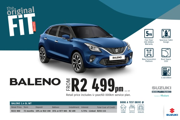 """<p><span style=""""font-family: &quot;Suzuki Pro Regular&quot;, Arial, Verdana, Helvetica, sans-serif;"""">*Terms and Conditions apply. Monthly instalment includes the monthly service fees of R69 and total cost of credit of R255 115 includes Bank Initiation Fee of R1208 incl. VAT. Offers apply while stocks last. Interest rate is linked to prime (currently 7.0% as of July 2020) and is accordingly subject to change in the event of a change in prime. Finance offer subject to approval from Suzuki Mobility Finance, a product of WesBank - a division of FirstRand Bank Ltd. An Authorised Financial Services and Registered Credit Provider. NCRCP20. Retail offer valid until 31 December 2020. Promotional 5-year/200 000km warranty valid until 31 December 2020. Mandatory insurances are excluded. Pictures shown are for illustrative purposes only.</span><br></p>"""