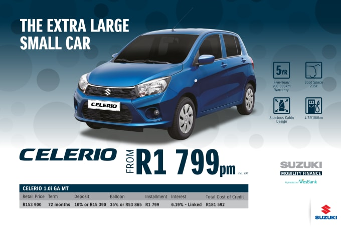"""<p><span style=""""font-family: &quot;Suzuki Pro Regular&quot;, Arial, Verdana, Helvetica, sans-serif;"""">*Terms and Conditions apply. Monthly instalment includes the monthly service fees of R69 and total cost of credit of R181 592 includes Bank Initiation Fee of R1208 incl. VAT. Offers apply while stocks last. Interest rate is linked to prime (currently 7.0% as of July 2020) and is accordingly subject to change in the event of a change in prime. Finance offer subject to approval from Suzuki Mobility Finance, a product of WesBank - a division of FirstRand Bank Ltd. An Authorised Financial Services and Registered Credit Provider. NCRCP20. Retail offer valid until 31 December 2020. Promotional 5-year/200 000km warranty valid until 31 December 2020. Mandatory insurances are excluded. Pictures shown are for illustrative purposes only.</span><br></p>"""