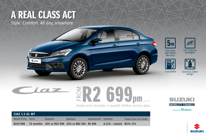 """<p><span style=""""font-family: &quot;Suzuki Pro Regular&quot;, Arial, Verdana, Helvetica, sans-serif;"""">*Terms and Conditions apply. Monthly instalment includes the monthly service fees of R69 and total cost of credit of R274 174 includes Bank Initiation Fee of R1208 incl. VAT. Offers apply while stocks last. Interest rate is linked to prime (currently 7.0% as of July 2020) and is accordingly subject to change in the event of a change in prime. Finance offer subject to approval from Suzuki Mobility Finance, a product of WesBank - a division of FirstRand Bank Ltd. An Authorised Financial Services and Registered Credit Provider. NCRCP20. Retail offer valid until 31 December 2020. Promotional 5-year/200 000km warranty valid until 31 December 2020. Mandatory insurances are excluded. Pictures shown are for illustrative purposes only.</span><br></p>"""
