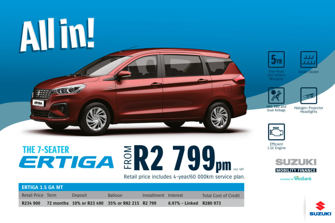 """<p><span style=""""font-family: &quot;Suzuki Pro Regular&quot;, Arial, Verdana, Helvetica, sans-serif;"""">*Terms and Conditions apply. Monthly instalment includes the monthly service fees of R69 and total cost of credit of R280 973 includes Bank Initiation Fee of R1208 incl. VAT. Offers apply while stocks last. Interest rate is linked to prime (currently 7.0% as of July 2020) and is accordingly subject to change in the event of a change in prime. Finance offer subject to approval from Suzuki Mobility Finance, a product of WesBank - a division of FirstRand Bank Ltd. An Authorised Financial Services and Registered Credit Provider. NCRCP20. Retail offer valid until 31 December 2020. Promotional 5-year/200 000km warranty valid until 31 December 2020. Mandatory insurances are excluded. Pictures shown are for illustrative purposes only.</span><br></p>"""