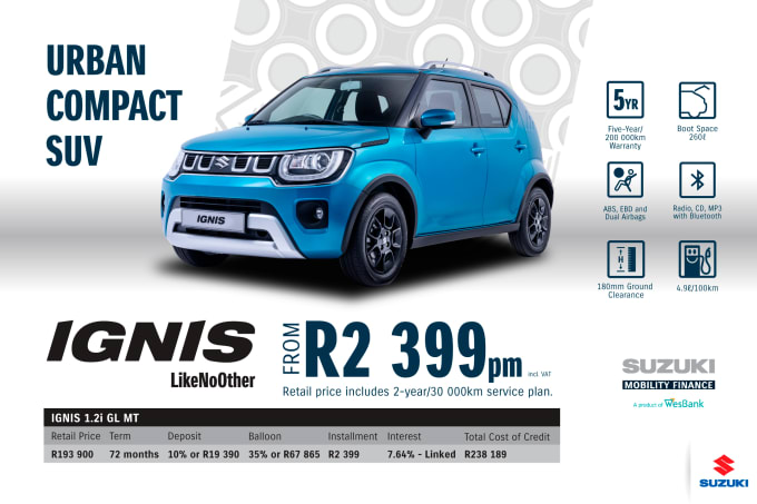 """<p><span style=""""font-family: &quot;Suzuki Pro Regular&quot;, Arial, Verdana, Helvetica, sans-serif;"""">*Terms and Conditions apply. Monthly instalment includes the monthly service fees of R69 and total cost of credit of R238 189 includes Bank Initiation Fee of R1208 incl. VAT. Offers apply while stocks last. Interest rate is linked to prime (currently 7.0% as of July 2020) and is accordingly subject to change in the event of a change in prime. Finance offer subject to approval from Suzuki Mobility Finance, a product of WesBank - a division of FirstRand Bank Ltd. An Authorised Financial Services and Registered Credit Provider. NCRCP20. Retail offer valid until 31 December 2020. Promotional 5-year/200 000km warranty valid until 31 December 2020. Mandatory insurances are excluded. Pictures shown are for illustrative purposes only.</span><br></p>"""