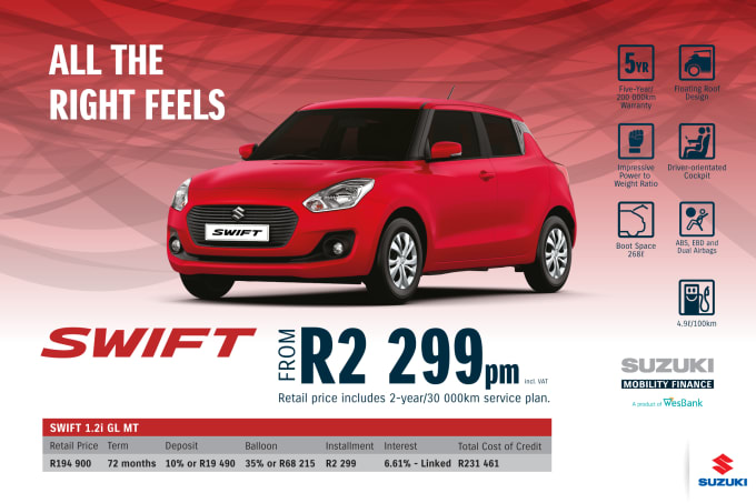 """<p><span style=""""font-family: &quot;Suzuki Pro Regular&quot;, Arial, Verdana, Helvetica, sans-serif;"""">*Terms and Conditions apply. Monthly instalment includes the monthly service fees of R69 and total cost of credit of R231 461 includes Bank Initiation Fee of R1208 incl. VAT. Offers apply while stocks last. Interest rate is linked to prime (currently 7.0% as of July 2020) and is accordingly subject to change in the event of a change in prime. Finance offer subject to approval from Suzuki Mobility Finance, a product of WesBank - a division of FirstRand Bank Ltd. An Authorised Financial Services and Registered Credit Provider. NCRCP20. Retail offer valid until 31 December 2020. Promotional 5-year/200 000km warranty valid until 31 December 2020. Mandatory insurances are excluded. Pictures shown are for illustrative purposes only.</span><br></p>"""