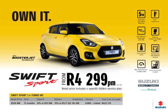 """<p><span style=""""font-family: &quot;Suzuki Pro Regular&quot;, Arial, Verdana, Helvetica, sans-serif;"""">*Terms and Conditions apply. Monthly instalment includes the monthly service fees of R69 and total cost of credit of R423 179 includes Bank Initiation Fee of R1208 incl. VAT. Offers apply while stocks last. Interest rate is linked to prime (currently 7.0% as of July 2020) and is accordingly subject to change in the event of a change in prime. Finance offer subject to approval from Suzuki Mobility Finance, a product of WesBank - a division of FirstRand Bank Ltd. An Authorised Financial Services and Registered Credit Provider. NCRCP20. Retail offer valid until 31 December 2020. Promotional 5-year/200 000km warranty valid until 31 December 2020. Mandatory insurances are excluded. Pictures shown are for illustrative purposes only.</span><br></p>"""