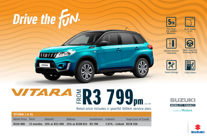 """<p><br></p><p><span style=""""font-family: &quot;Suzuki Pro Regular&quot;, Arial, Verdana, Helvetica, sans-serif;"""">*Terms and Conditions apply. Monthly instalment includes the monthly service fees of R69 and total cost of credit of R378 539 includes Bank Initiation Fee of R1208 incl. VAT. Offers apply while stocks last. Interest rate is linked to prime (currently 7.0% as of July 2020) and is accordingly subject to change in the event of a change in prime. Finance offer subject to approval from Suzuki Mobility Finance, a product of WesBank - a division of FirstRand Bank Ltd. An Authorised Financial Services and Registered Credit Provider. NCRCP20. Retail offer valid until 31 December 2020. Promotional 5-year/200 000km warranty valid until 31 December 2020. Mandatory insurances are excluded. Pictures shown are for illustrative purposes only.</span><br></p>"""
