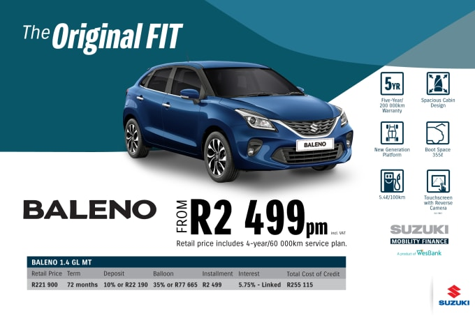 """<p><span style=""""font-family: &quot;Suzuki Pro Regular&quot;, Arial, Verdana, Helvetica, sans-serif;"""">*Terms and Conditions apply. Monthly instalment includes the monthly service fees of R69 and total cost of credit of R255 115 includes Bank Initiation Fee of R1208 incl. VAT. Offers apply while stocks last. Interest rate is linked to prime (currently 7.0% as of July 2020) and is accordingly subject to change in the event of a change in prime. Finance offer subject to approval from Suzuki Mobility Finance, a product of WesBank - a division of FirstRand Bank Ltd. An Authorised Financial Services and Registered Credit Provider. NCRCP20. Retail offer valid until 31 March 2021. Promotional 5-year/200 000km warranty valid until 31 March 2021. Mandatory insurances are excluded. Pictures shown are for illustrative purposes only.</span><br></p>"""