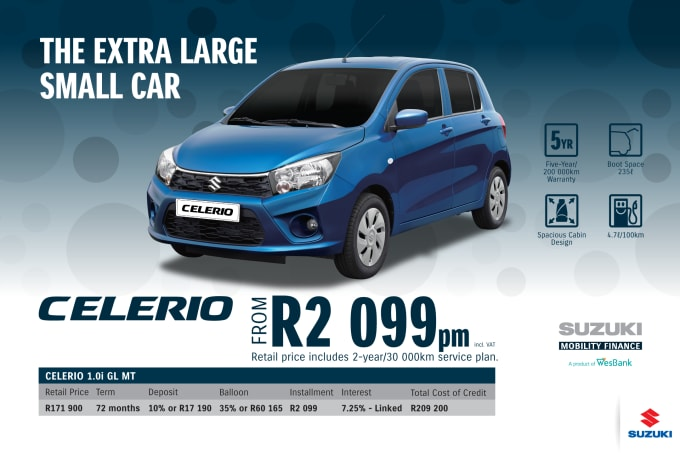 """<p><span style=""""font-family: &quot;Suzuki Pro Regular&quot;, Arial, Verdana, Helvetica, sans-serif;"""">*Terms and Conditions apply. Monthly instalment includes the monthly service fees of R69 and total cost of credit of R209 200 includes Bank Initiation Fee of R1208 incl. VAT. Offers apply while stocks last. Interest rate is linked to prime (currently 7.0% as of July 2020) and is accordingly subject to change in the event of a change in prime. Finance offer subject to approval from Suzuki Mobility Finance, a product of WesBank - a division of FirstRand Bank Ltd. An Authorised Financial Services and Registered Credit Provider. NCRCP20. Retail offer valid until 31 March 2021. Promotional 5-year/200 000km warranty valid until 31 March 2021. Mandatory insurances are excluded. Pictures shown are for illustrative purposes only.</span><br></p>"""