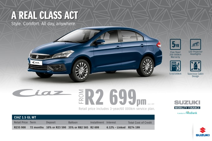 """<span style=""""font-family: &quot;Suzuki Pro Regular&quot;, Arial, Verdana, Helvetica, sans-serif;"""">*Terms and Conditions apply. Monthly instalment includes the monthly service fees of R69 and total cost of credit of R274 199 includes Bank Initiation Fee of R1208 incl. VAT. Offers apply while stocks last. Interest rate is linked to prime (currently 7.0% as of July 2020) and is accordingly subject to change in the event of a change in prime. Finance offer subject to approval from Suzuki Mobility Finance, a product of WesBank - a division of FirstRand Bank Ltd. An Authorised Financial Services and Registered Credit Provider. NCRCP20. Retail offer valid until 31 March 2021. Promotional 5-year/200 000km warranty valid until 31 March 2021. Mandatory insurances are excluded. Pictures shown are for illustrative purposes only.</span>"""