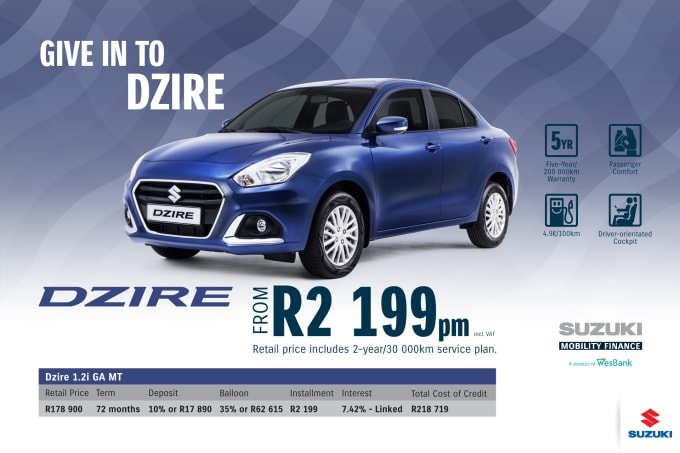 """<p><span style=""""font-family: &quot;Suzuki Pro Regular&quot;, Arial, Verdana, Helvetica, sans-serif;"""">*Terms and Conditions apply. Monthly instalment includes the monthly service fees of R69 and total cost of credit of R218 719 includes Bank Initiation Fee of R1208 incl. VAT. Offers apply while stocks last. Interest rate is linked to prime (currently 7.0% as of July 2020) and is accordingly subject to change in the event of a change in prime. Finance offer subject to approval from Suzuki Mobility Finance, a product of WesBank - a division of FirstRand Bank Ltd. An Authorised Financial Services and Registered Credit Provider. NCRCP20. Retail offer valid until 31 March 2021. Promotional 5-year/200 000km warranty valid until 31 March 2021. Mandatory insurances are excluded. Pictures shown are for illustrative purposes only.</span><br></p>"""