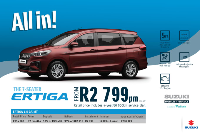 """<p><span style=""""font-family: &quot;Suzuki Pro Regular&quot;, Arial, Verdana, Helvetica, sans-serif;"""">*Terms and Conditions apply. Monthly instalment includes the monthly service fees of R69 and total cost of credit of R280 929 includes Bank Initiation Fee of R1208 incl. VAT. Offers apply while stocks last. Interest rate is linked to prime (currently 7.0% as of July 2020) and is accordingly subject to change in the event of a change in prime. Finance offer subject to approval from Suzuki Mobility Finance, a product of WesBank - a division of FirstRand Bank Ltd. An Authorised Financial Services and Registered Credit Provider. NCRCP20. Retail offer valid until 31 March 2021. Promotional 5-year/200 000km warranty valid until 31 March 2021. Mandatory insurances are excluded. Pictures shown are for illustrative purposes only.</span><br></p>"""