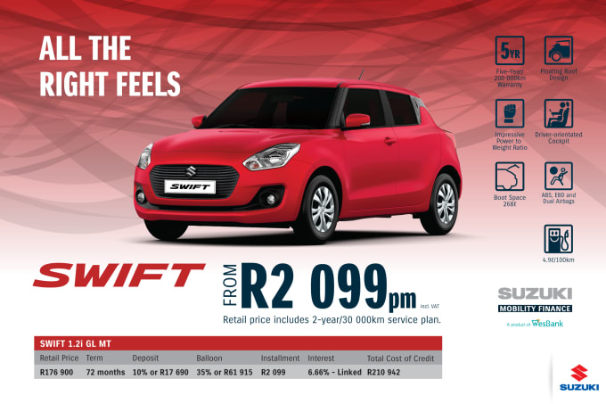 """<p><span style=""""font-family: &quot;Suzuki Pro Regular&quot;, Arial, Verdana, Helvetica, sans-serif;"""">*Terms and Conditions apply. Monthly instalment includes the monthly service fees of R69 and total cost of credit of R210 942 includes Bank Initiation Fee of R1208 incl. VAT. Offers apply while stocks last. Interest rate is linked to prime (currently 7.0% as of July 2020) and is accordingly subject to change in the event of a change in prime. Finance offer subject to approval from Suzuki Mobility Finance, a product of WesBank - a division of FirstRand Bank Ltd. An Authorised Financial Services and Registered Credit Provider. NCRCP20. Retail offer valid until 31 March 2021. Promotional 5-year/200 000km warranty valid until 31 March 2021. Mandatory insurances are excluded. Pictures shown are for illustrative purposes only.</span><br></p>"""