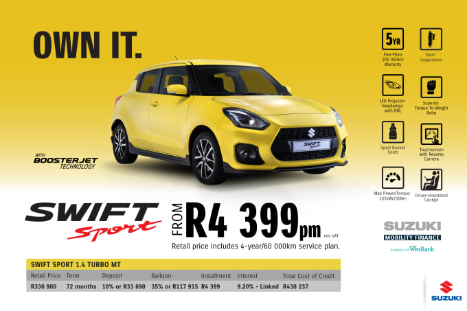 """<p><span style=""""font-family: &quot;Suzuki Pro Regular&quot;, Arial, Verdana, Helvetica, sans-serif;"""">*Terms and Conditions apply. Monthly instalment includes the monthly service fees of R69 and total cost of credit of R430 237 includes Bank Initiation Fee of R1208 incl. VAT. Offers apply while stocks last. Interest rate is linked to prime (currently 7.0% as of July 2020) and is accordingly subject to change in the event of a change in prime. Finance offer subject to approval from Suzuki Mobility Finance, a product of WesBank - a division of FirstRand Bank Ltd. An Authorised Financial Services and Registered Credit Provider. NCRCP20. Retail offer valid until 31 March 2021. Promotional 5-year/200 000km warranty valid until 31 March 2021. Mandatory insurances are excluded. Pictures shown are for illustrative purposes only.</span><br></p>"""
